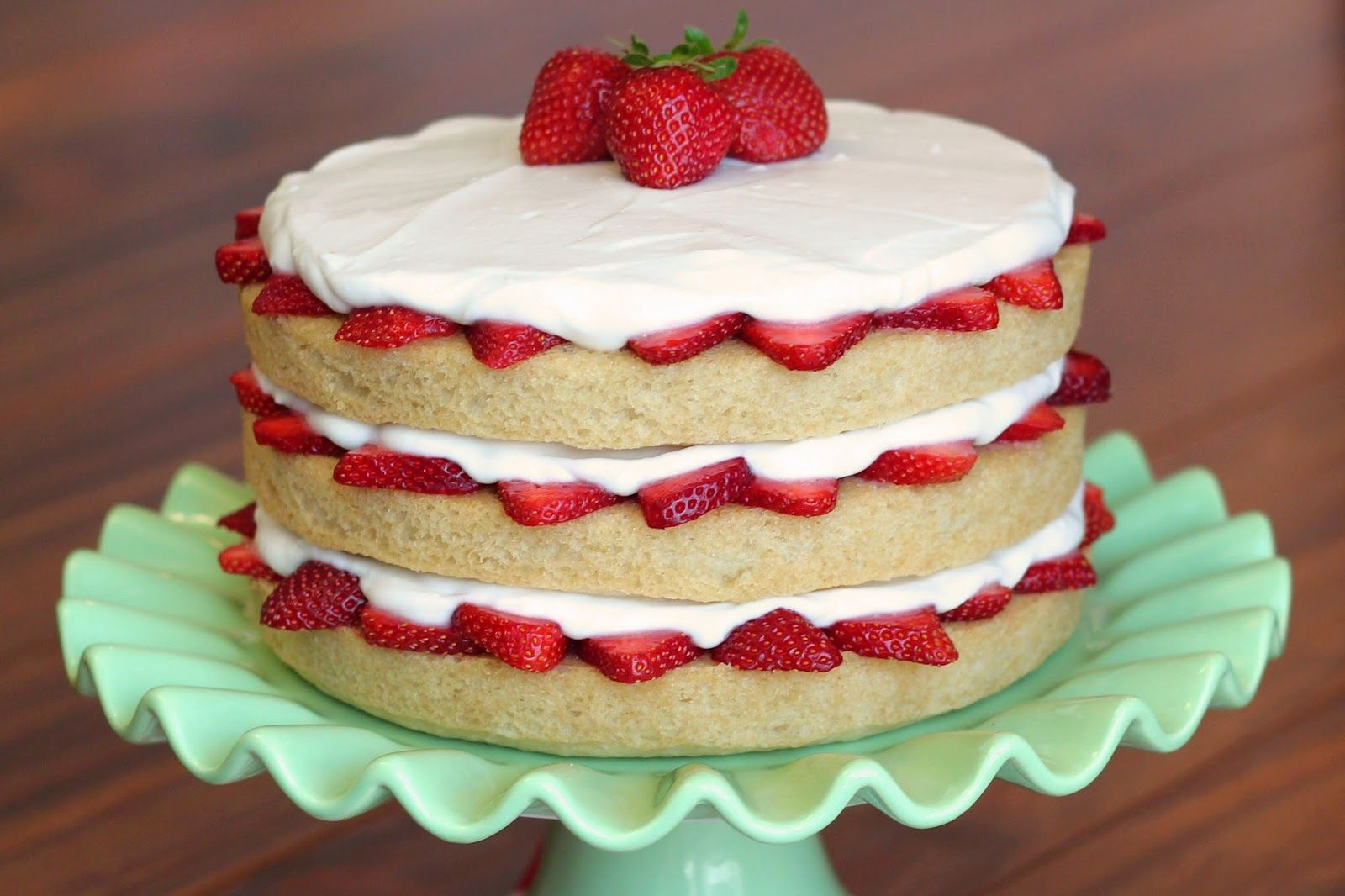 Vanilla Birthday Cake With Strawberry Filling